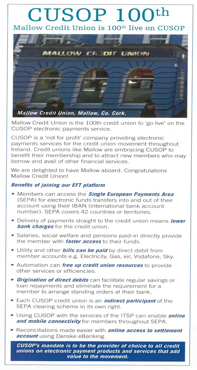 Mallow Credit Union is 100th live on CUSOP
